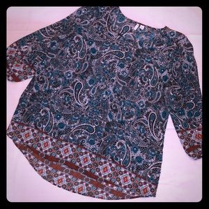 Teal Paisley Blouse with Cutout Sleeves